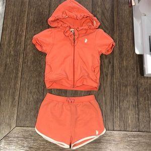 Juicy Couture Baby Girls zip up hoodie & short set